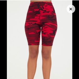Red camouflage bike shorts.